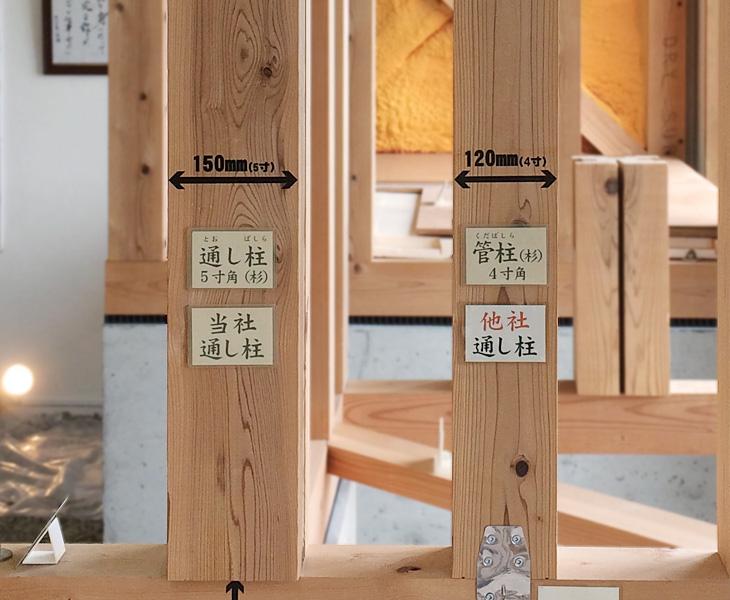 富山県 注文住宅 通し柱5寸角15cm 他社比較|丸高木材マルタカハウスの家